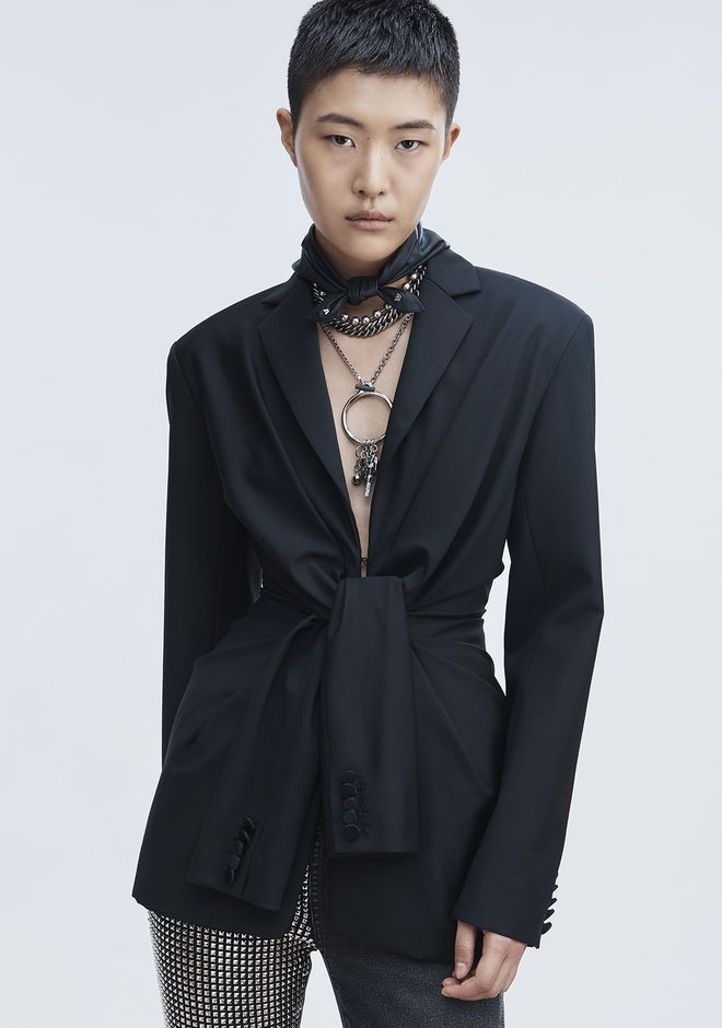 ALEXANDER WANG TIE FRONT TUXEDO JACKET JACKETS AND OUTERWEAR  Adult 12_n_r