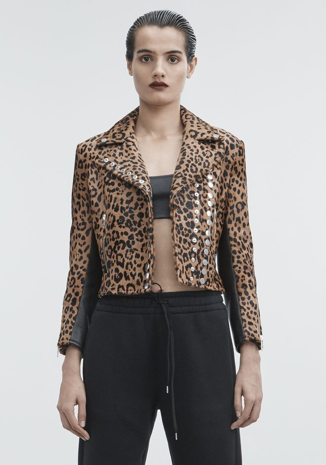 ALEXANDER WANG LEOPARD MOTO JACKET JACKETS AND OUTERWEAR  Adult 12_n_a