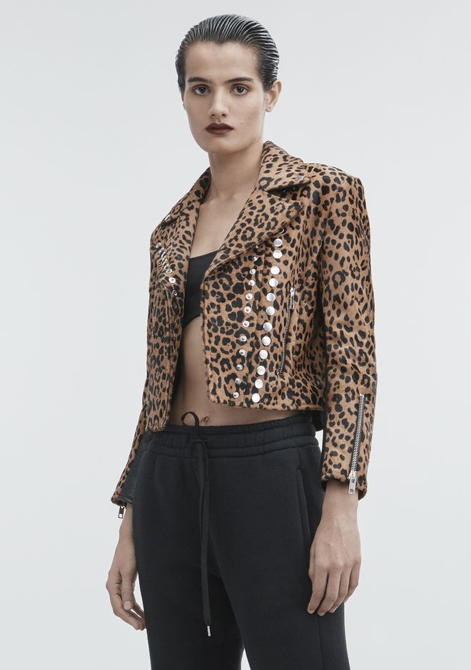 ALEXANDER WANG LEOPARD MOTO JACKET JACKETS AND OUTERWEAR  Adult 12_n_d