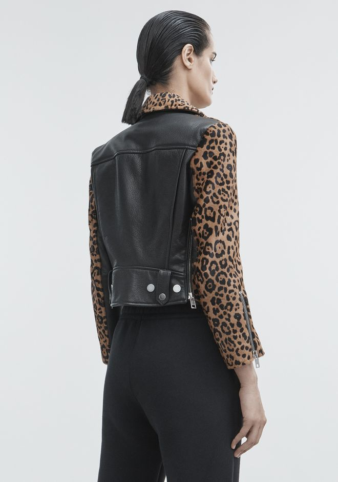 ALEXANDER WANG LEOPARD MOTO JACKET JACKETS AND OUTERWEAR  Adult 12_n_e