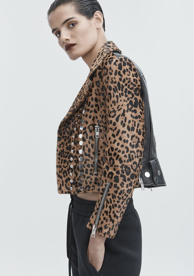 ALEXANDER WANG LEOPARD MOTO JACKET JACKETS AND OUTERWEAR  Adult 12_n_r