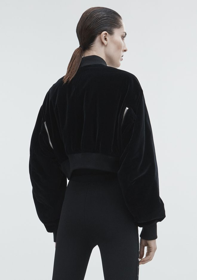 ALEXANDER WANG VELVET CROPPED BOMBER JACKETS AND OUTERWEAR  Adult 12_n_e