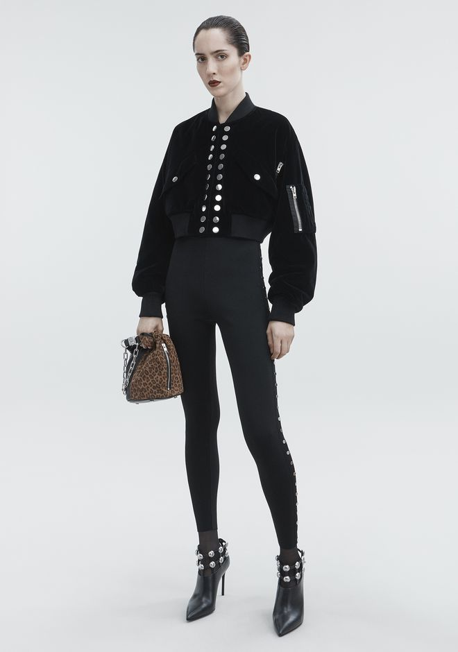 ALEXANDER WANG VELVET CROPPED BOMBER JACKETS AND OUTERWEAR  Adult 12_n_f