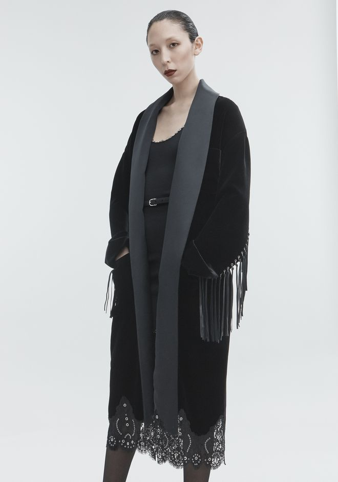 ALEXANDER WANG OVERSIZED VELVET ROBE JACKETS AND OUTERWEAR  Adult 12_n_a