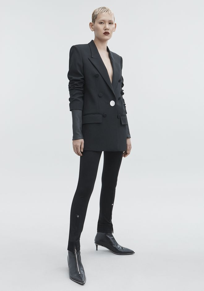 ALEXANDER WANG classic-outerwear JACKET WITH LEATHER SLEEVES