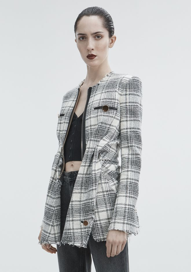 ALEXANDER WANG DECONSTRUCTED TWEED JACKET JACKETS AND OUTERWEAR  Adult 12_n_d