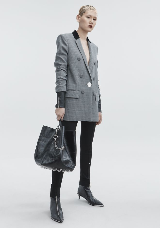 Velvet And Leather-Trimmed Houndstooth Woven Blazer, Ash Gray