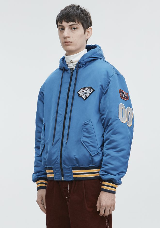 ALEXANDER WANG ATHLETIC PATCH HOODED BOMBER  JACKETS AND OUTERWEAR  Adult 12_n_a
