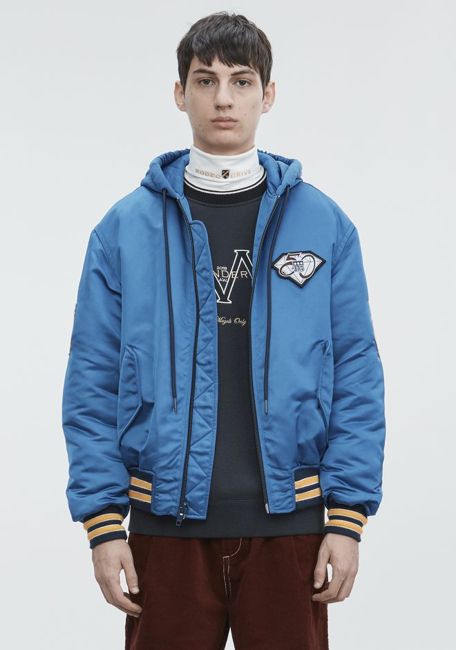ALEXANDER WANG ATHLETIC PATCH HOODED BOMBER  JACKETS AND OUTERWEAR  Adult 12_n_d