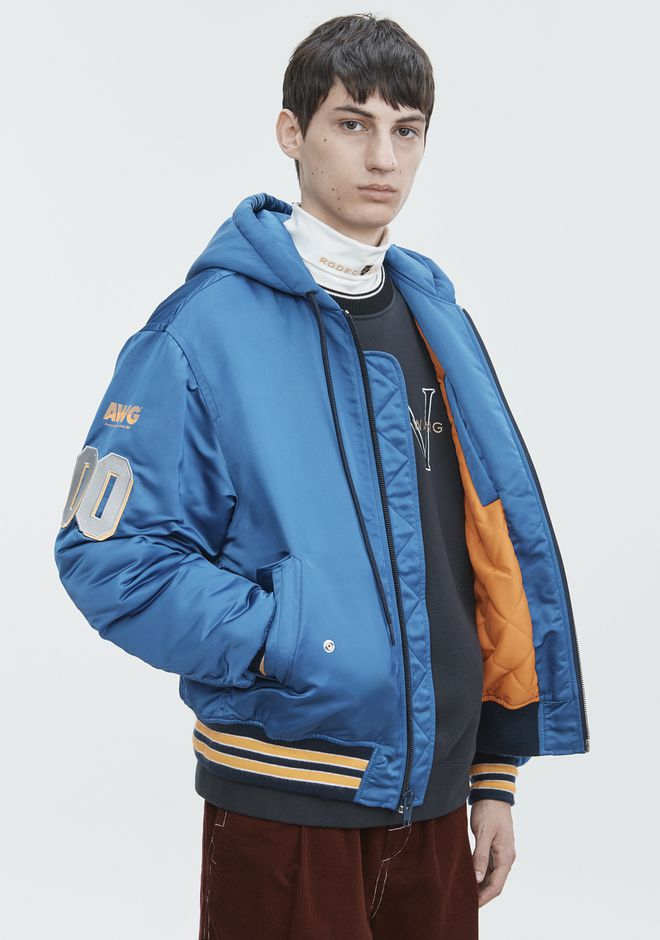 ALEXANDER WANG ATHLETIC PATCH HOODED BOMBER  JACKETS AND OUTERWEAR  Adult 12_n_r