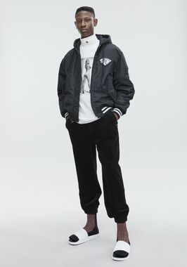 ATHLETIC PATCH HOODED BOMBER