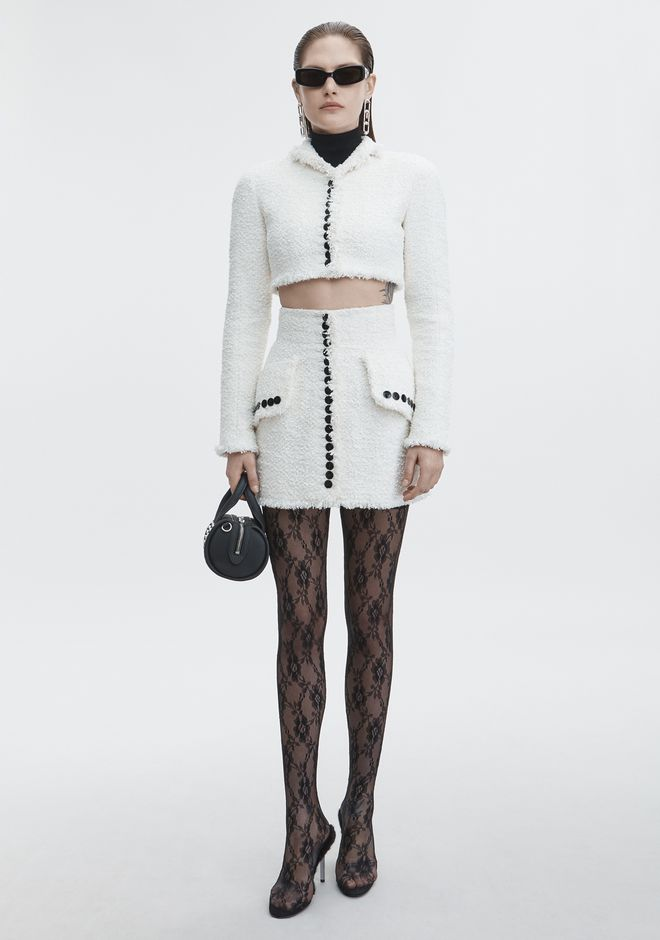 ALEXANDER WANG classic-outerwear CROPPED TWEED JACKET