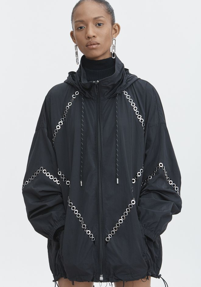 ALEXANDER WANG FLOATING GROMMET WINDBREAKER JACKETS AND OUTERWEAR  Adult 12_n_r