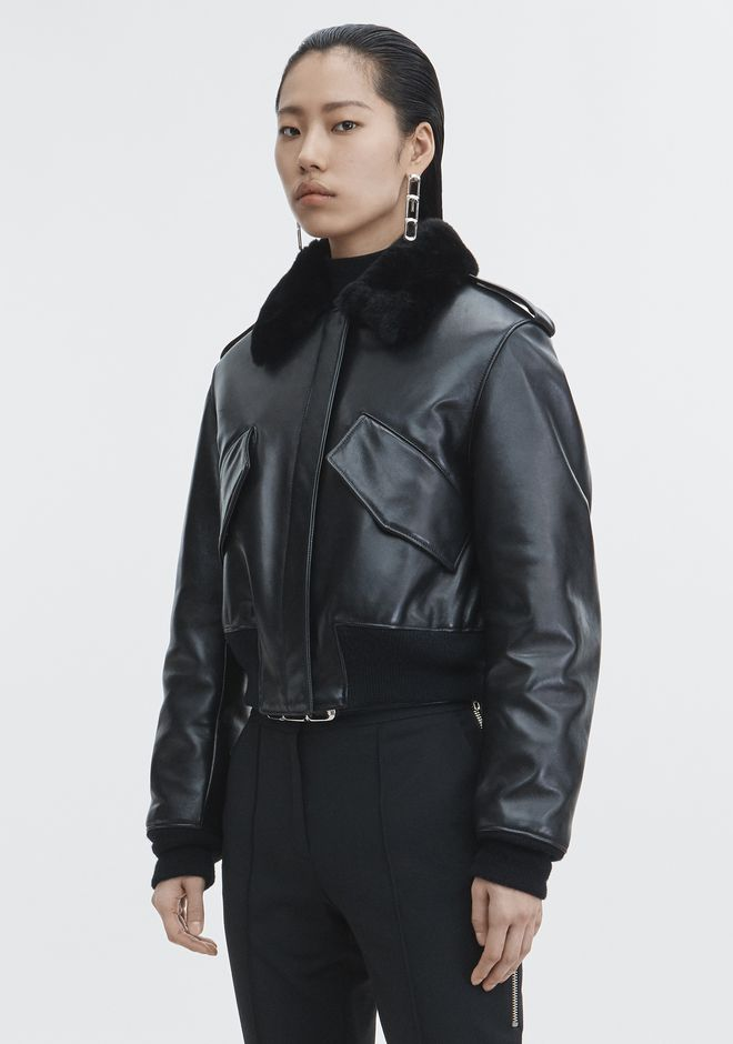 ALEXANDER WANG CROPPED AVIATOR JACKET Jacket Adult 12_n_d