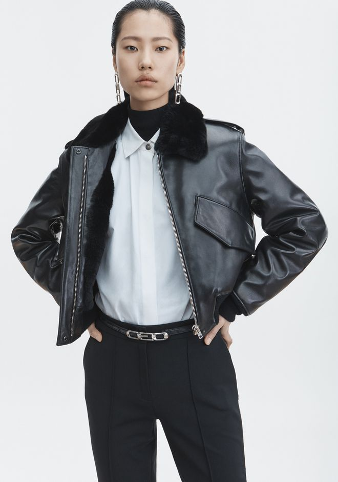 ALEXANDER WANG CROPPED AVIATOR JACKET Jacket Adult 12_n_r