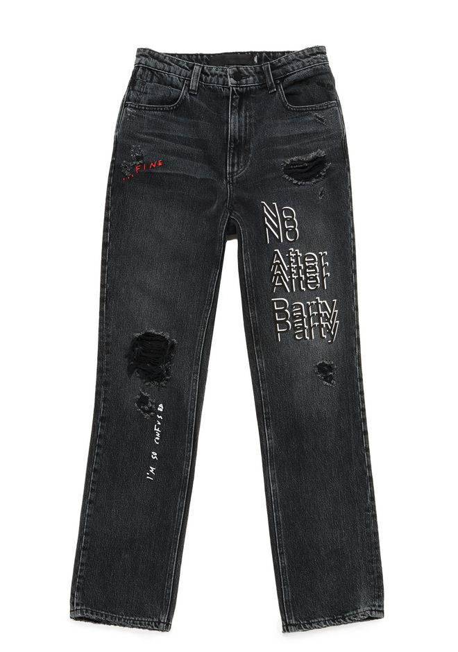 "ALEXANDER WANG CULT ""NO AFTER PARTY"" STRAIGHT LEG JEANS DENIM Adult 12_n_a"