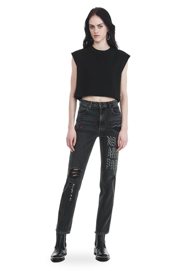 "ALEXANDER WANG CULT ""NO AFTER PARTY"" STRAIGHT LEG JEANS DENIM Adult 12_n_f"