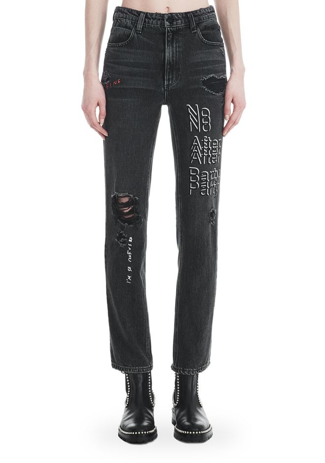 "ALEXANDER WANG CULT ""NO AFTER PARTY"" STRAIGHT LEG JEANS DENIM Adult 12_n_r"