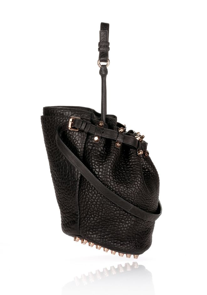 ALEXANDER WANG DIEGO IN BLACK PEBBLE WITH ROSEGOLD Shoulder bag Adult 12_n_e