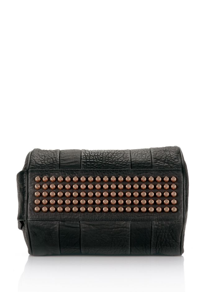 ALEXANDER WANG ROCCO IN BLACK PEBBLE LAMB WITH ROSEGOLD Shoulder bag Adult 12_n_e