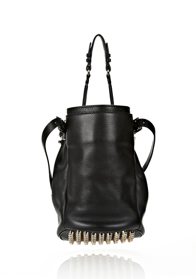ALEXANDER WANG DIEGO IN BLACK SOFT PEBBLE LEATHER WITH PALE GOLD Shoulder bag Adult 12_n_d