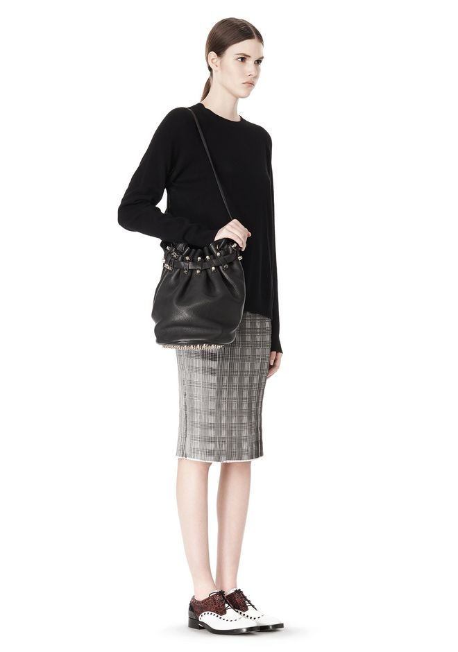 ALEXANDER WANG DIEGO IN BLACK SOFT PEBBLE LEATHER WITH PALE GOLD Shoulder bag Adult 12_n_r