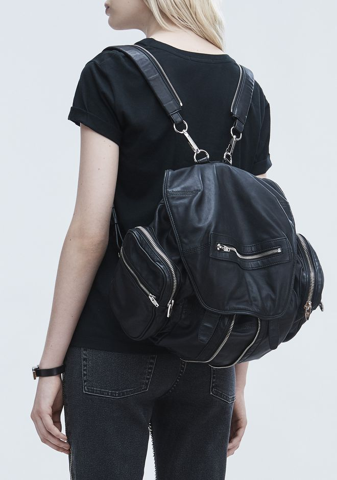 ALEXANDER WANG MARTI BACKPACK IN WASHED BLACK  WITH RHODIUM  ZAINO Adult 12_n_r