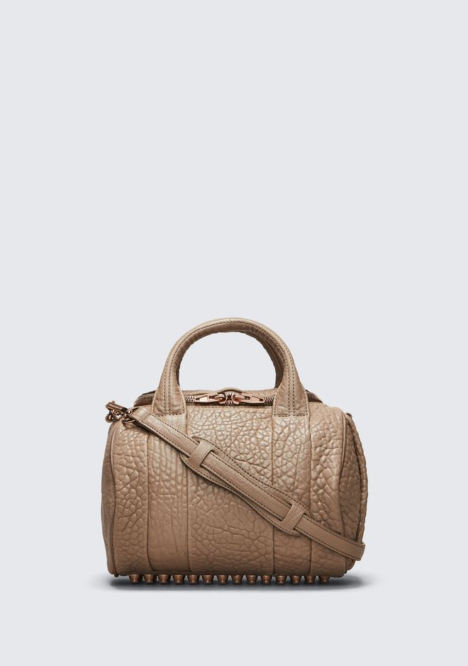 ALEXANDER WANG bags-classics ROCKIE IN PEBBLED LATTE WITH ROSE GOLD