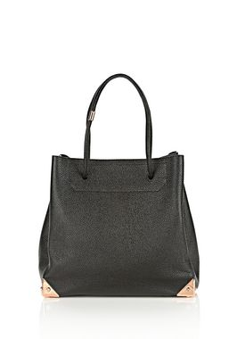 PRISMA LARGE TOTE IN PEBBLED BLACK WITH ROSE GOLD