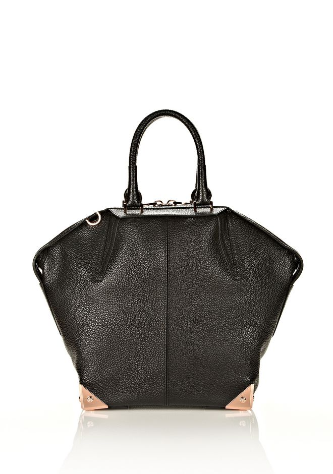 ALEXANDER WANG LARGE EMILE IN PEBBLED BLACK WITH ROSE GOLD  TOTE/DEL Adult 12_n_d