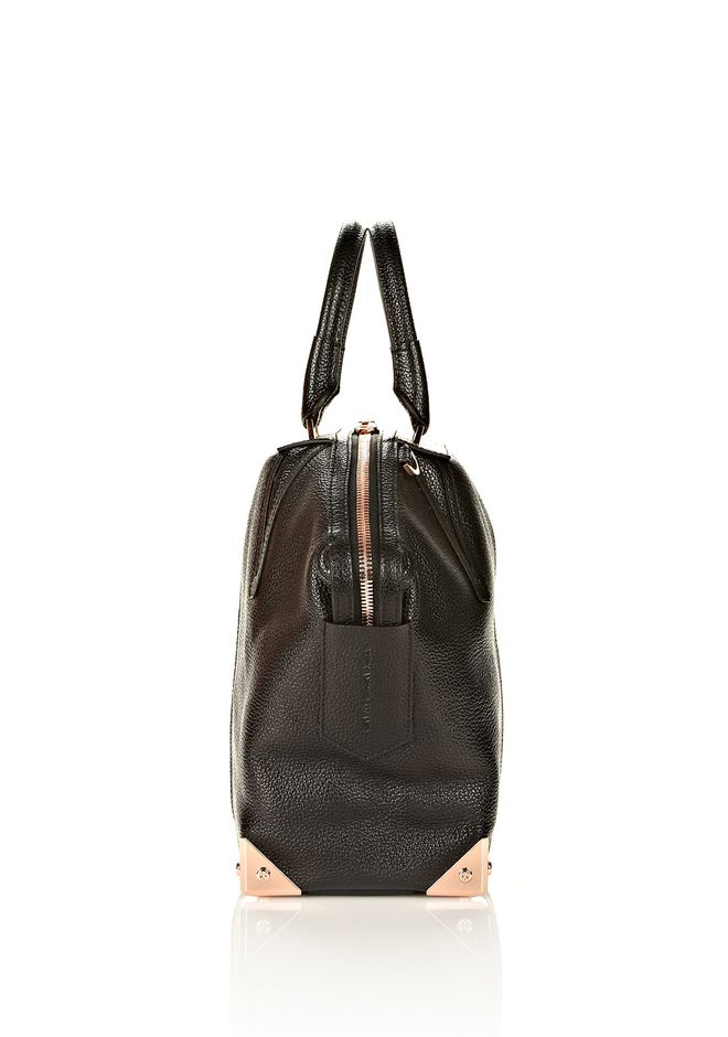 ALEXANDER WANG LARGE EMILE IN PEBBLED BLACK WITH ROSE GOLD  TOTE/DEL Adult 12_n_e