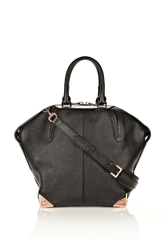 ALEXANDER WANG LARGE EMILE IN PEBBLED BLACK WITH ROSE GOLD  TOTE/DEL Adult 12_n_f