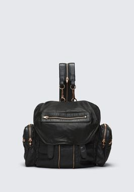 MARTI BACKPACK IN WASHED BLACK WITH ROSE GOLD
