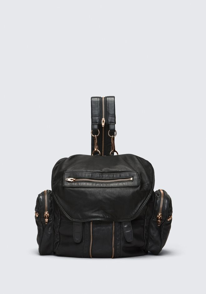 ALEXANDER WANG bags-classics MARTI BACKPACK IN WASHED BLACK WITH ROSE GOLD