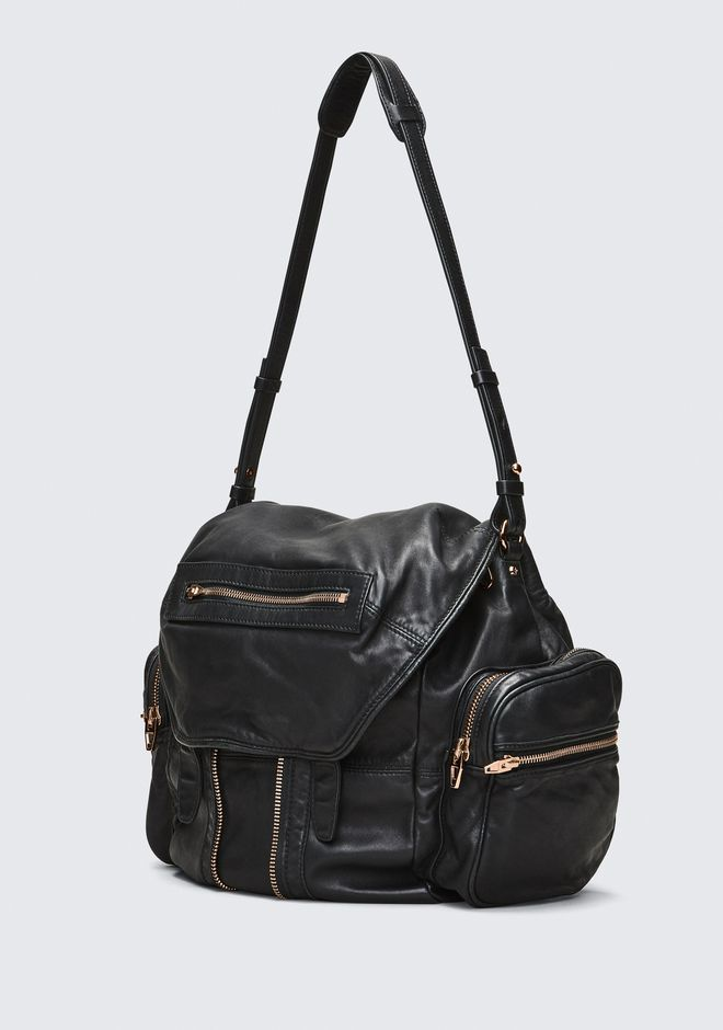 ALEXANDER WANG MARTI BACKPACK IN WASHED BLACK WITH ROSE GOLD ZAINO Adult 12_n_a