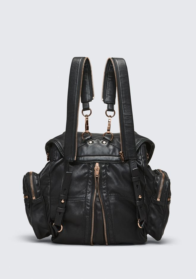 ALEXANDER WANG MARTI BACKPACK IN WASHED BLACK WITH ROSE GOLD ZAINO Adult 12_n_d