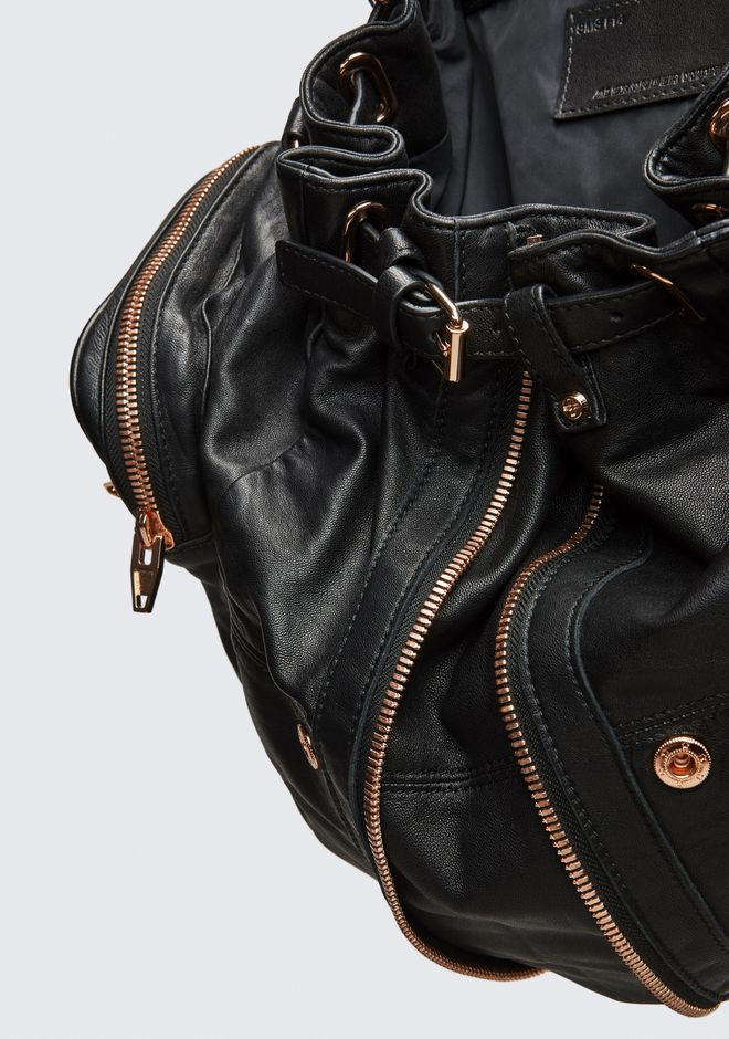 ALEXANDER WANG MARTI BACKPACK IN WASHED BLACK WITH ROSE GOLD ZAINO Adult 12_n_e