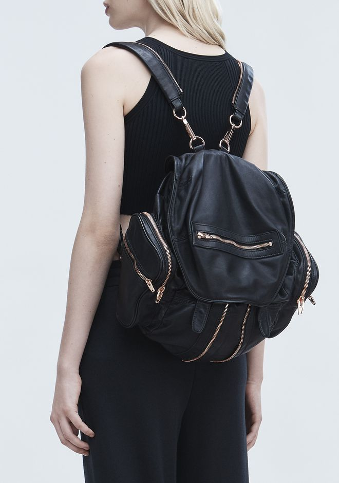 ALEXANDER WANG MARTI BACKPACK IN WASHED BLACK WITH ROSE GOLD ZAINO Adult 12_n_r