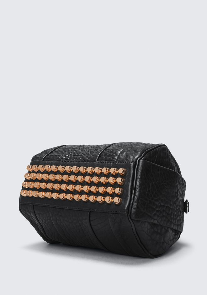 ALEXANDER WANG ROCKIE IN PEBBLED BLACK WITH ROSE GOLD Schultertasche Adult 12_n_a