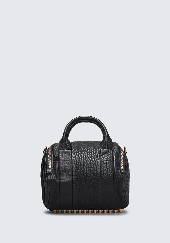 ALEXANDER WANG ROCKIE IN PEBBLED BLACK WITH ROSE GOLD Schultertasche Adult 12_n_d
