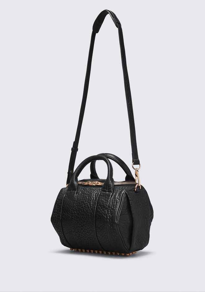 ALEXANDER WANG ROCKIE IN PEBBLED BLACK WITH ROSE GOLD Schultertasche Adult 12_n_e