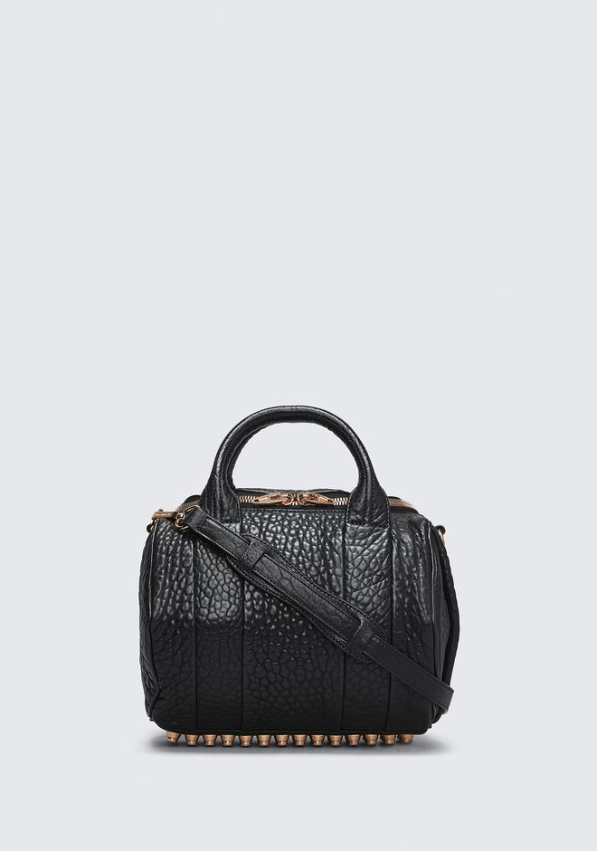 Alexander Rockie In Pebbled Black With Rose Gold Shoulder Bag 12 N F