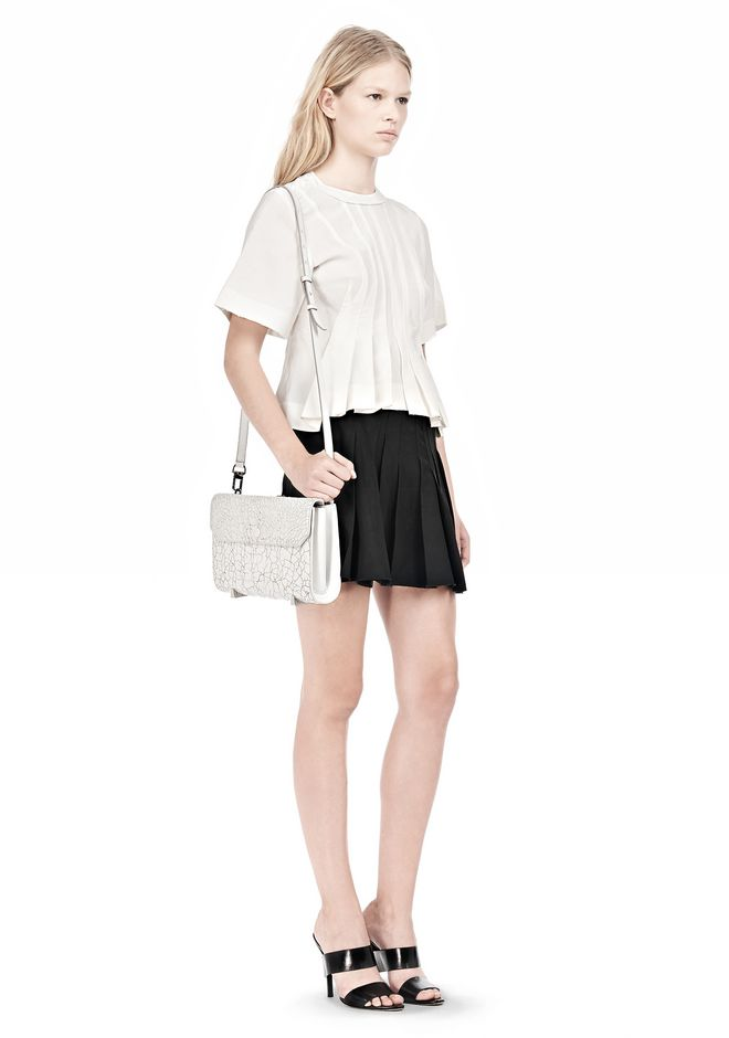 ALEXANDER WANG CHASTITY CLUTCH IN HEAVY CRACKED PEROXIDE WITH RHODIUM  CLUTCH Adult 12_n_r