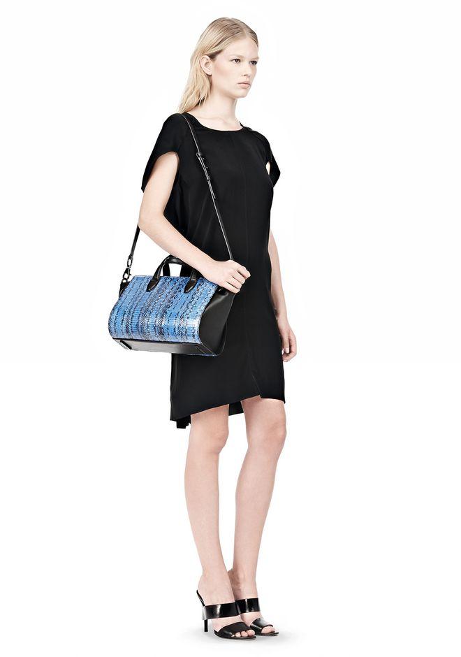 ALEXANDER WANG EXCLUSIVE PELICAN MINI SATCHEL IN CURACAO WITH MATTE BLACK Shoulder bag Adult 12_n_r
