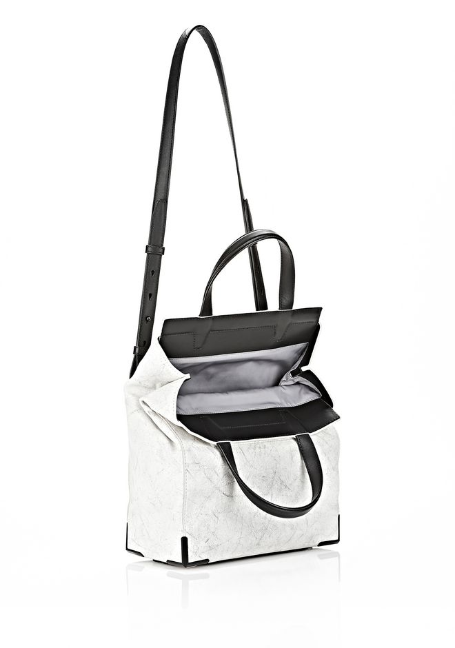 ALEXANDER WANG EXCLUSIVE PRISMA LUNCH BAG IN CHALK WITH MATTE BLACK Shoulder bag Adult 12_n_e