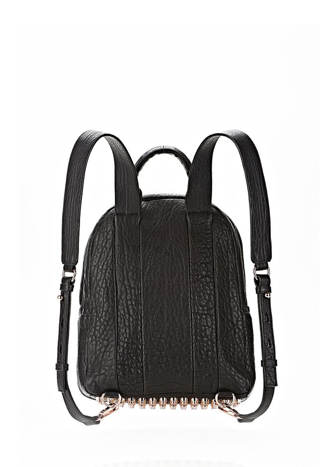 ALEXANDER WANG DUMBO BACKPACK IN BLACK WITH ROSE GOLD BACKPACK Adult 12_n_d