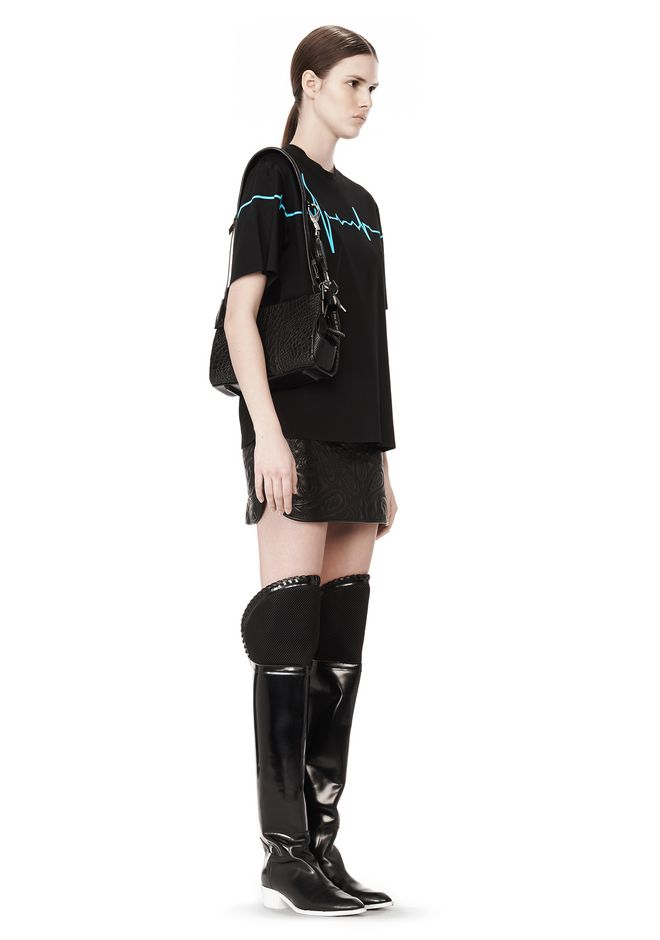 ALEXANDER WANG PELICAN SLING IN EMBOSSED MATTE BLACK WITH MATTE BLACK Shoulder bag Adult 12_n_r