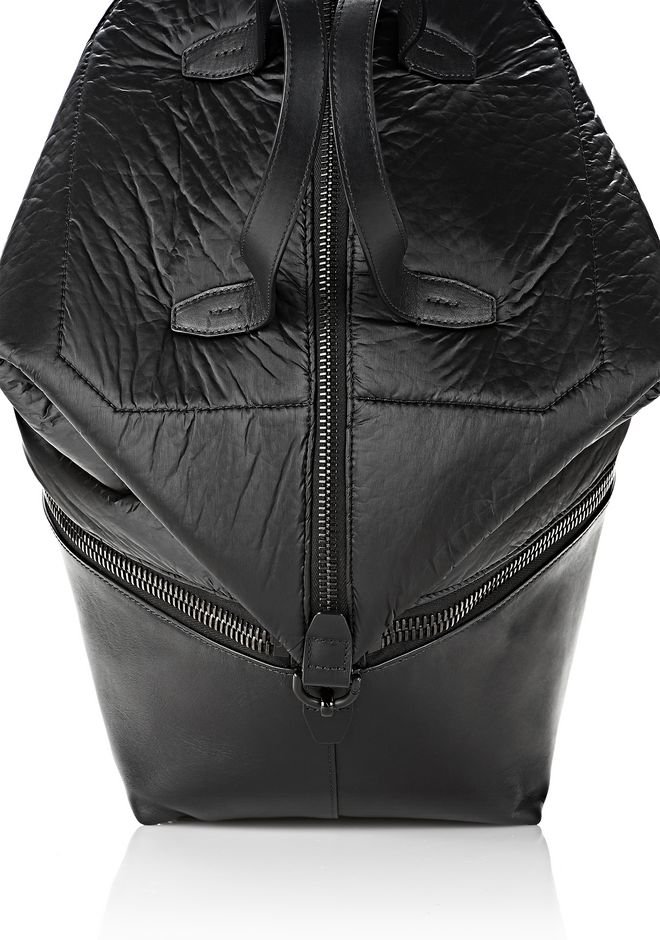 ALEXANDER WANG EXPLORER TOTE IN SHINY BLACK NYLON WITH MATTE BLACK Travel Adult 12_n_a
