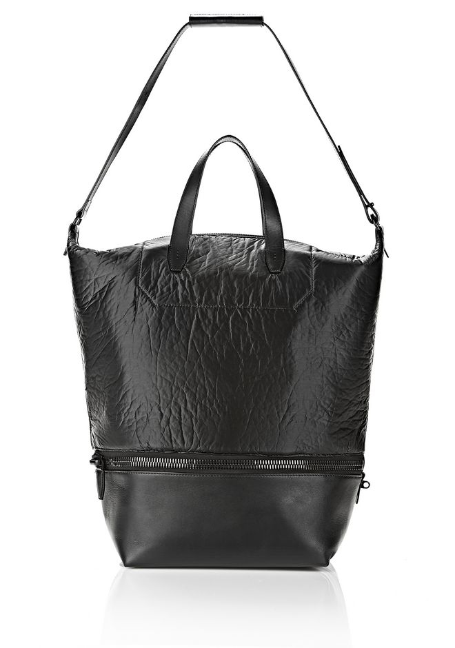 ALEXANDER WANG EXPLORER TOTE IN SHINY BLACK NYLON WITH MATTE BLACK Travel Adult 12_n_f