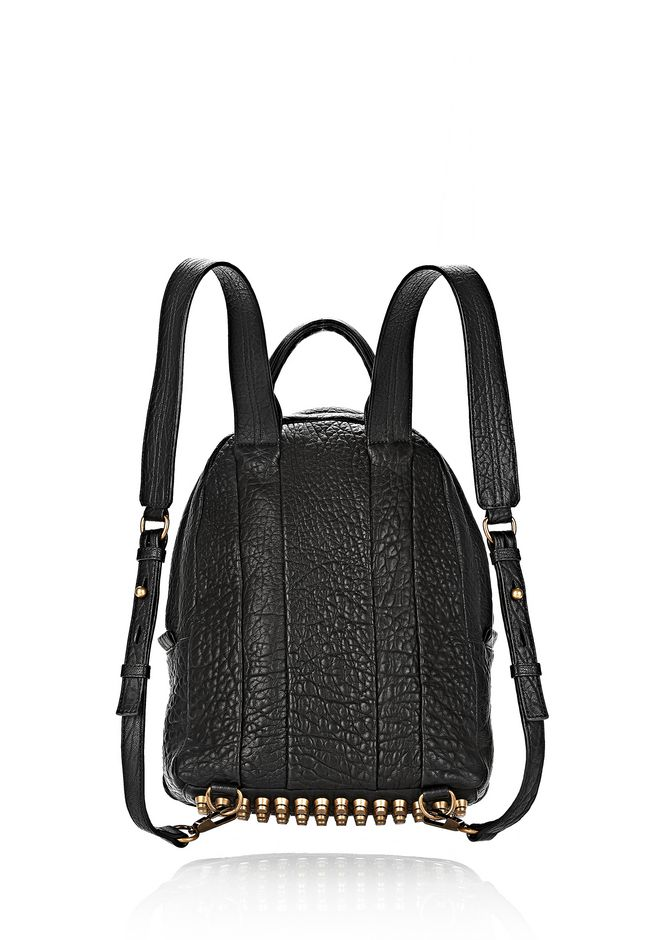 ALEXANDER WANG DUMBO BACKPACK IN PEBBLED BLACK WITH ANTIQUE BRASS BACKPACK Adult 12_n_d